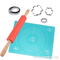 "CARIHOME Non-Stick Rolling Pin Silicone Dough Roller With Extra Large Kneading Pastry Measurement Reusable Mat (20""X16"") 6 Stainless Steel Cookie Cutters for Baking Pasta CookiesPie Pizza (Red) - B07BGXN37V"