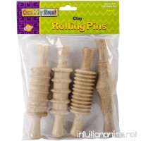 "Creativity Street Wood Rolling Pin Set  Assorted 4 Patterns  6""  4/Pack - B0017D15YY"