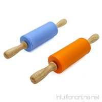 Rugjut 2 Pack Mini Rolling Pin  Kids Size Wooden Handle Rolling Pin Non-Stick Silicone Rolling Pins(Blue Orange) - B0798Q97VG