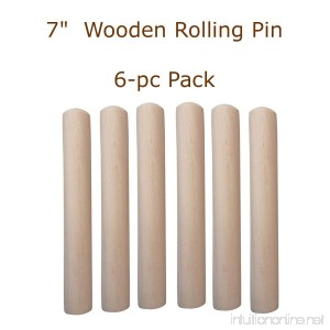 White Fabric Chef Hat Fits All Kids to Petite Adults (Wooden Rolling Pins 6-pc Pack) - B01LYCSIYC