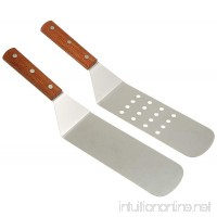 Great Credentials new Long Grill Stainless Steel Spatula  Turner  1 Perforated Face & 1 Solid Face Spatula great for BBQ with wooden handle Set of 2 - B06XXXTD7B