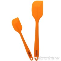 HOMKOM Silicone Spatula Scraper Set with Hygienic Solid Coating  Orange (2-Pack) - B01N64UA5X