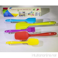 Premium 5-piece Silicone Spatula Set by Silicone World - Durable and BPA-free Utensils - Amazing Colorful and Dishwasher Safe Scraper Kit - Heat-resistant and Eco-friendly Cooking Accessories - B01MQ4KJ9G