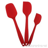 Silicone Spatula Utensil Set-iLOME 3-Pieces Heat-Resistant Non-stick Cooking Utensils with Hygienic Solid Coating 3 Piece Spatula set (red) - B01JUOWDSI