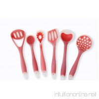 Joyoldelf 6 Piece Premium Silicone Kitchen Baking Set - Flat Spatula Regular Turner & Pasta Spoon - Soup Ladle - Spoon - Large Drainin (Red) - B017GRKMRK