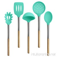 TOPHOME Kitchen Utensils Cooking Utensils Nonstick Utensil Set Beech Silicone and Stainless Steel Kit For Pots and Pans Serving Tongs Spoon Tools Pasta Server Ladle Strainer Whisk 5 Piece - B0772T8Y5Y