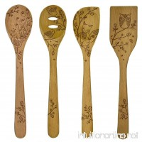 Talisman Designs 12-Inch Solid Beechwood Mixing  Slotted & Corner Spoon Plus Spatula Turner with Woodland Design (Set of 4) - B00G7UE2GK