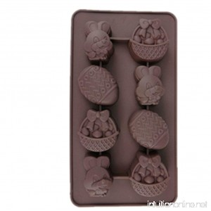 8 Cavity Rabbit Easter egg Silicone mold chocolate molds cake DIY mould - B00OII4H3Q