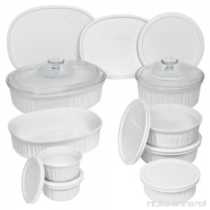 Durable Non-Porous French White 18 Piece Ceramic Made and Oven and Microwave Safe Bakeware Set with Lid by CorningWare - B0153RR7K0