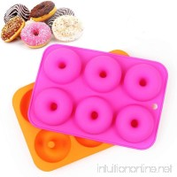 Etdear 2pcs 6 Cavities Silicone Donut Molds Non-Stick Doughnut Chocolate Soap Candy Jelly Mold Baking Pan Suitable for Dishwasher  Oven  Microwave  Freezer - B07BP663DB