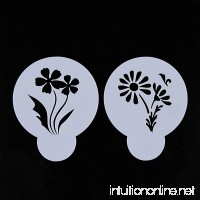 Flowers 2 Pcs for Cake Coffe Bread Baking Art Decorating Stencils - diameter 2.6 inch - B06Y3YKJR4