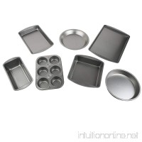 Le Juvo 7 Piece Bake Set - Kitchen Bakeware Set - Including Square Cake Pan Round Cake Pan Pie Pan Cookie Tray Bread & Loaf Pan 6 Cup muffin Pan and a Biscuit & Brownie Pan - Made of Heavy Gauge Steel - B00IO59IBU