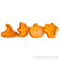 Loweryeah Set of 4 Shapes Plastic Halloween Themed Plunger Cutters for Cutting Decorations & Direct Embossing Spring-loaded Handle Food Safe - B07G3W2ZVV