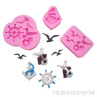 Wocuz Set of 3 3D Silicone Fondant Molds Seagull Rudder Ship Anchor Sugarcraft Mold Cake Cupcake Deacoration tools - B077MX45GD
