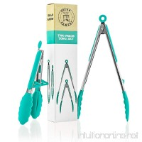 Premium Silicone Kitchen Tongs 2-Pack (9-Inch & 12-Inch) with Built in Counter Stands in Teal by Polar Pantry - B01E5APHYO