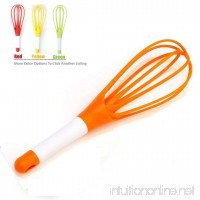 Whisk 2-in-1 Balloon and Flat Whisk Silicone Coated Steel Wire  11.5-Inch (Orange) - B07BTQKK9W