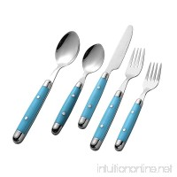 Intriom Kitchenware 20 piece (4-Sets) Cutlery Flatware Set Stainless with Stylish Sturdy Plastic covered Light Blue handles - B01M0LRMCL