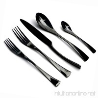 JANKNG 20-Piece 18/10 Stainless Steel Flatware Set Mirror Polishing Black  Serive for 4 - B01MDR88CS