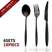 Mazmayi 18-Piece Stainless Steel Flatware Silverware Set Service for 6 Dinnerware Mirror Polished Include Knife/Fork/Spoon Dishwasher Safe (Black) - B07DK7T5J9