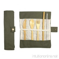 Muhuyi Bamboo Travel Cutlery Eco Friendly Flatware Set Bamboo Travel Utensils include Knife Fork Spoon Straw and Cleaning Brush (Army green) - B07FM3138B
