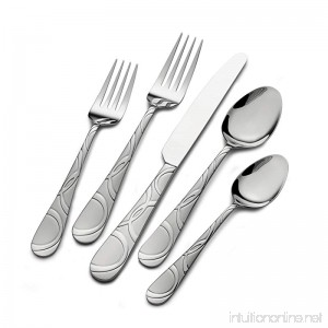 Pfaltzgraff 5163889 Garland Frost 53-Piece Stainless Steel Flatware Set with Serving Utensil Set and Steak Knives Service for 8 - B016K3E1UU