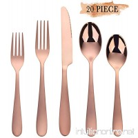 Rose Gold Silverware Set  Stainless Steel Silverware Flatware 20-Piece Cutlery Set  Utensils Service for 4 Include Mirror Polished Knife/Fork/Spoon  Dishwasher Safe - B07DGRGM4L