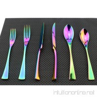 Uniturcky Flatware Set 18/10 Stainless Steel Mirror Polished Rainbow Colorful Cutlery - Silverware Utensil Set of Serrated Steak Knife Dinner Fork Knife Salad Fork Dessert Spoon 24 Piece Service for 4 - B07DP5DXNC