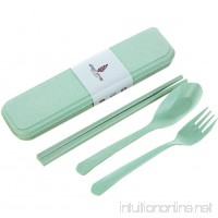 Windspeed 3 Piece Flatware Set- Portable Flatware Spoon Chopsticks  Fork with Travel Case  Green - B06XT469YV