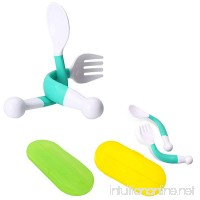 2 Pack Baby Spoon Fork Set with Carrying Case Children Feeding Spoon and Fork Adjustable Fun Training with Bonus Travel Case (green) - B078TG2MFX