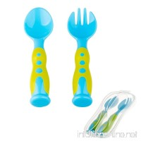 Baby Spoon and Fork 2 Travel Set Soft Tip Travel Safe Training Kiddy Cutlery and Perfect Size Baby Feeding Fun Pack Utensils with Bonus Travel Case BPA Free. (Blue Standing) - B07D83JPF6