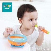 ReeR Stay Put Suction Bowl with Twisty Suction Base for Infant and Toddler-Self Feeding- Bonus Spoon and Fork (Orange and Blue) - B0778GMGHY