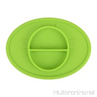 Silicone Baby Plate Safe Mini Feeding Placemat for Toddler Kids Infant with Strong Suction  FDA Approved  BPA Free (Green) - B07FRJ8S47
