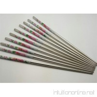 10 Pcs (5 Pairs) High Quality Peony Design Silver Stainless Steel Chopsticks - B01GQTCLR8