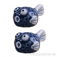 4pcs Lovely Ceramic Puffer Fish Spoon Fork Holder Chopsticks Rests  Blue - B01IQY966A