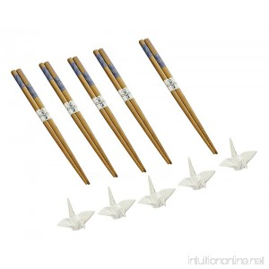 Happy Sales 5 Pairs White Crane Rests and Sashiko Design Chopsticks - B0145JW9ZA