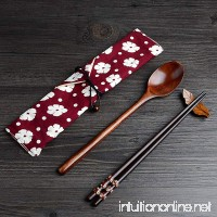 Portable Lunch Tableware Set Wooden Spoon and Chopsticks Cutlery Set with Cloth Carry Bag (RED) - B0753CT5JM
