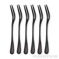 6-Pieces Stainless Steel Fruit Forks Tasting Appetizer Forks Dessert Cake Forks Mini Salad Fruit Tasting Forks Cocktail Fork (Black-Pack of 6) - B078V25CZ6