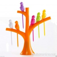 Chiefmax Fruit Dessert Fork Set - 6 pieces  Birds on a Tree (Orange) - B01HFL400C