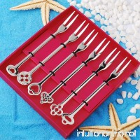 Stainless Steel Fruit Forks Tasting Appetizer Forks Cocktail Forks for Salad Cake Fruit-6 Piece - B071DZJ7B6