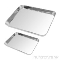 2pack Cookie Baking Sheet  Kuorle Pure Stainless Steel Commercial Bakeware set & Nonstick Baking Pans for Toaster Oven  Non-toxic  Healthy & Dishwasher Safe . - B077YCK7T3
