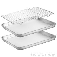 Baking Sheets with Rack  HKJ Chef Cookie Sheets and Nonstick Cooling Rack & Baking Pans for Oven & Toaster Oven Tray Pans  Rectangle Size 12L x 10W x 1H inch & Non Toxic & Healthy  Easy Clean - B07CQGLDW5