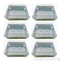 Set of 6 Durable Foil Disposable Aluminum 7 3/8 x 7 3/8 Square Cake Pans With Lids (6) - B01M4NLCBL