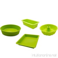 Marathon Housewares KW888SET25GR Premium Silicone Bakers Dream Cake Pan Set - 1 Round 1 Square 1 Loaf & 1 Bundt (Green) - B071YZZHCS